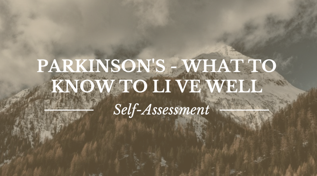 Parkinson's - What to know to live well. Image background mountains.