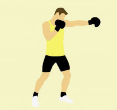 Man boxing the air