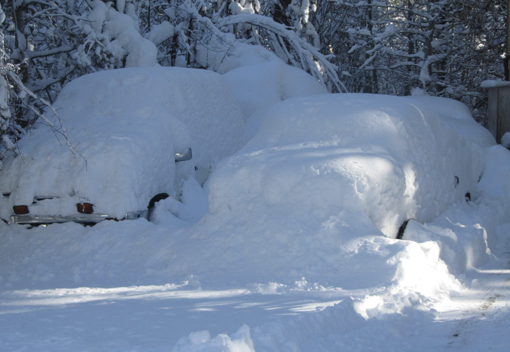 Cars snowed in during the winter