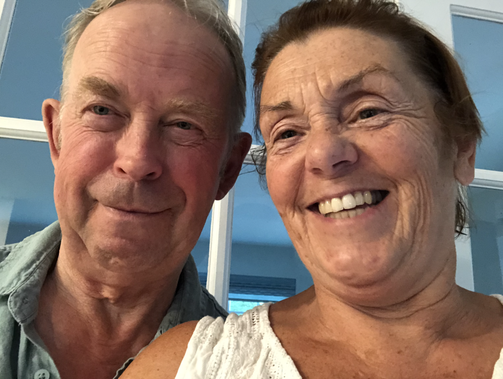 A photo of a wife and her spouse with Parkinson's